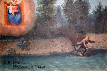 1860. Giovanni Ronchi fell in the river and almost drowned, but was miraculously saved by the Virgin Maryhttp://www.italianways.com/small-miracles-of-beauty-ex-votos-for-madonna-del-boden/