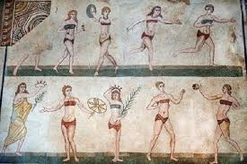 "Room of the Ten Girls with the astonishing ""Bikini Girls"" mosaic at the Villa Romana del Casale"
