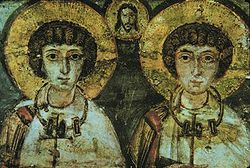 Detail of a 7th-century icon of Saints Sergius and Bacchus Ph.Wiki